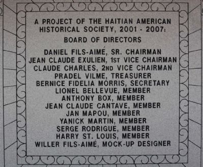 Haitian Monument Marker, northwest face image. Click for full size.