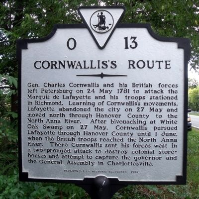 Cornwallis's Route Marker image. Click for full size.