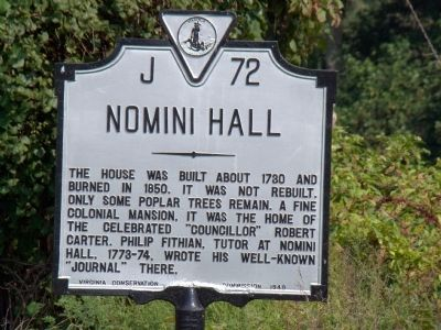 Nomini Hall Marker Photo, Click for full size