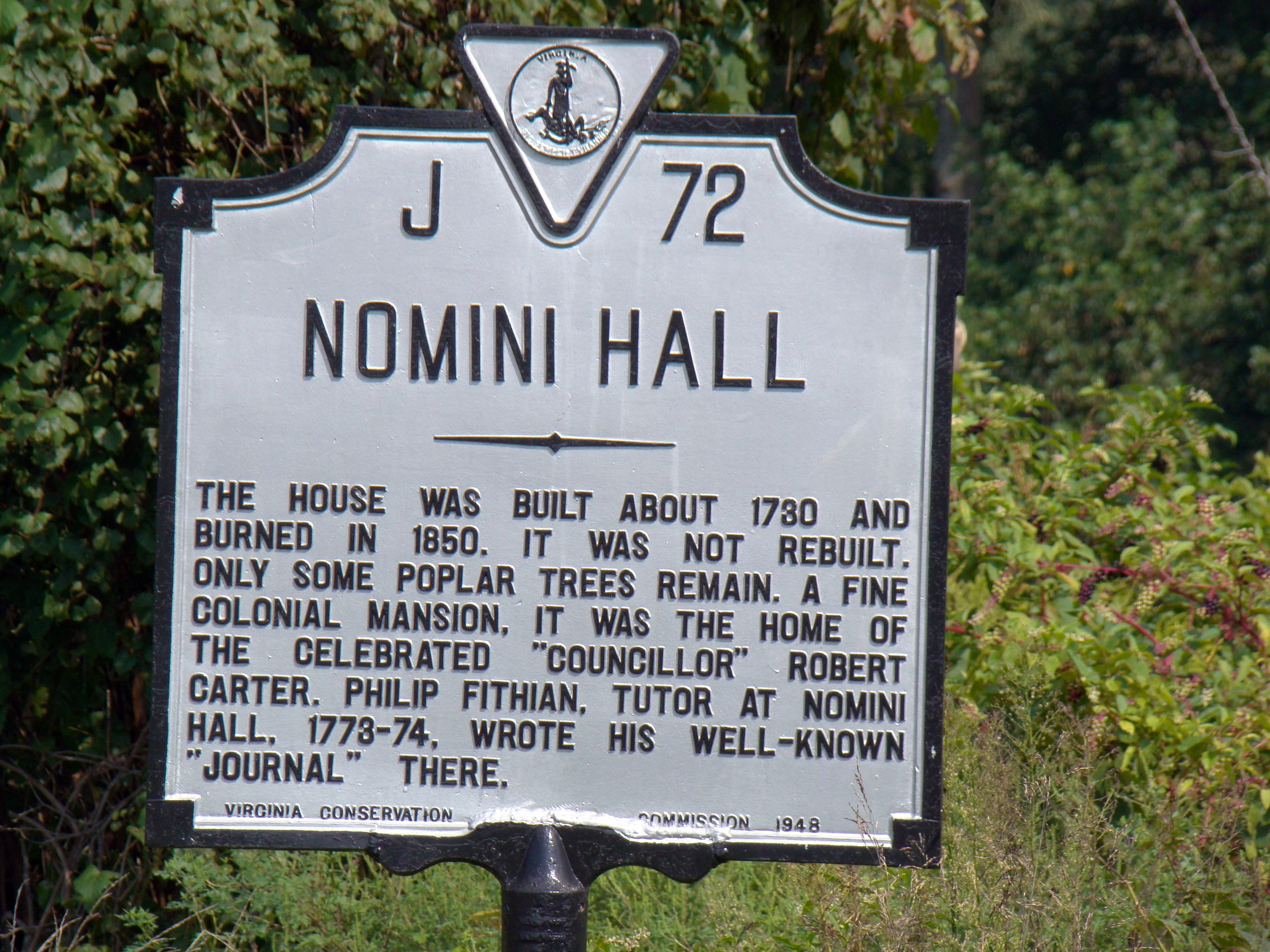 Nomini Hall Marker