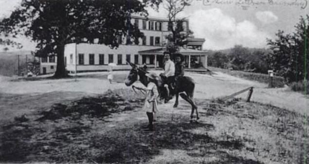 Chick Springs Hotel -<br>Children Riding a Mule Photo, Click for full size