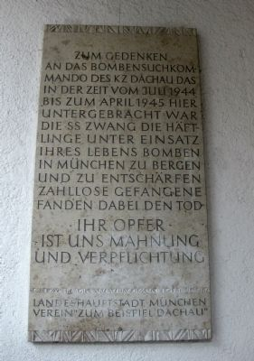 Dachau Bomb Disposal Unit Marker Photo, Click for full size