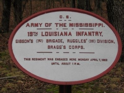 19th Louisiana Infantry Tablet image. Click for full size.
