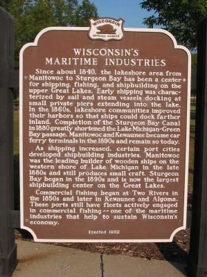 Wisconsin's Maritime Industries Marker image. Click for full size.