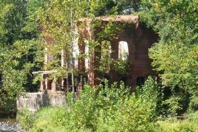 Savage Mill - ruins of wheel house, seen from Bollman Iron Truss Bridge image. Click for full size.