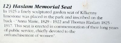 Haslam Memorial Seat Marker image. Click for full size.
