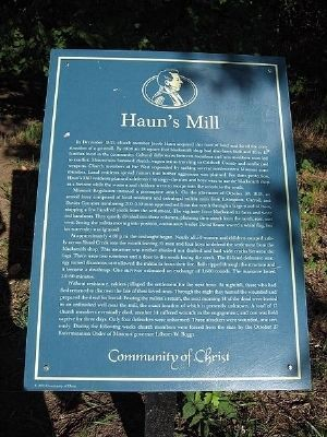 Haun's Mill monument sign image. Click for full size.