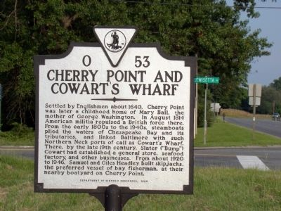 Cherry Point and Cowart's Wharf Marker image. Click for full size.
