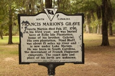 Francis Marion / Francis Marion's Grave Marker Photo, Click for full size