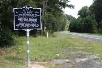 Battle of Honey Hill Replacement Marker - As Seen Along SC 336. Photo, Click for full size