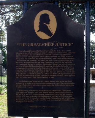 """The Great Chief Justice"" Marker image. Click for full size."