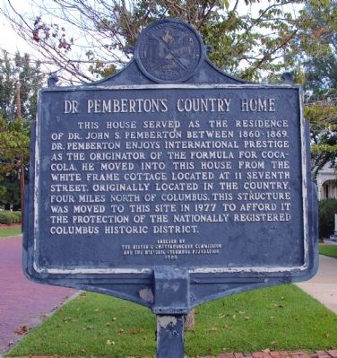 Dr. Pemberton's Country Home Marker image. Click for full size.