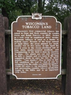 Wisconsin's Tobacco Land Marker image. Click for full size.