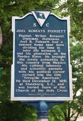 Joel Roberts Poinsett Marker -<br>Reverse Photo, Click for full size