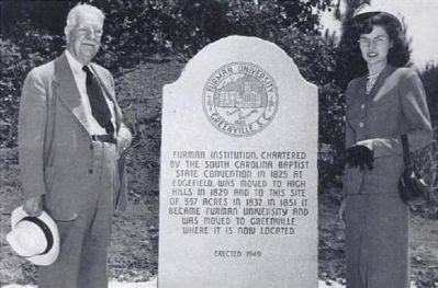 Alester Garden Furman, Jr. and Wife, Janet -<br>At Furman Marker in Winnsboro, SC (Fairfield County) Photo, Click for full size