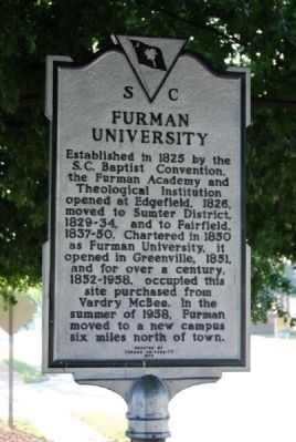 Furman University Marker Photo, Click for full size