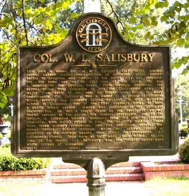 Col. W. L. Salisbury Marker image. Click for full size.