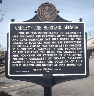 Chipley - Pine Mountain, Georgia Marker Photo, Click for full size