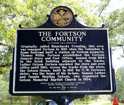Side 2: The Fortson Community Marker Photo, Click for full size