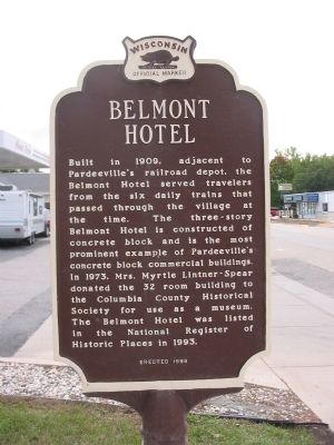 Belmont Hotel Marker <i>[north side]</i> Photo, Click for full size