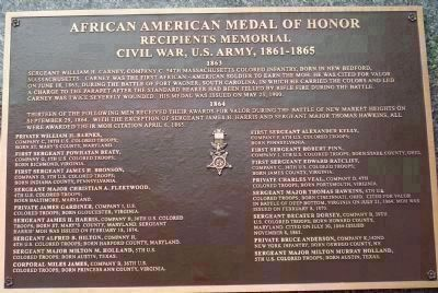 African American Medal of Honor Recipients Memorial, Marker Panel 2: image. Click for full size.