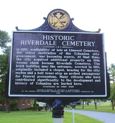 Historic Riverdale Cemetery Marker image. Click for full size.