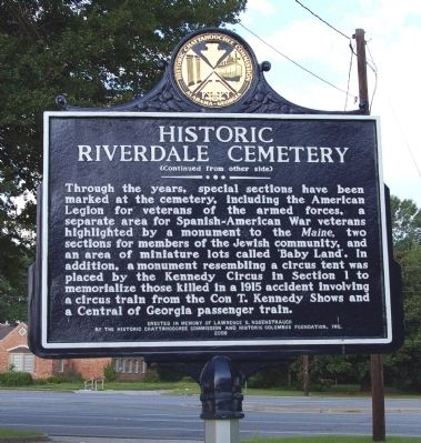 Historic Riverdale Cemetery Marker, Side 2 image. Click for full size.