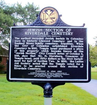 Jewish Section of Riverdale Cemetery Marker image. Click for full size.