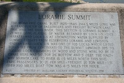 Loramie Summit Marker Photo, Click for full size