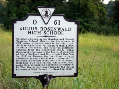 Julius Rosenwald High School Marker image. Click for full size.