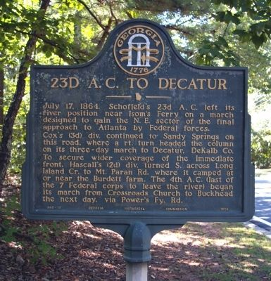 23d A.C. to Decatur Marker image. Click for full size.