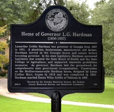 Home of Governor L.G. Hardman Marker image. Click for full size.
