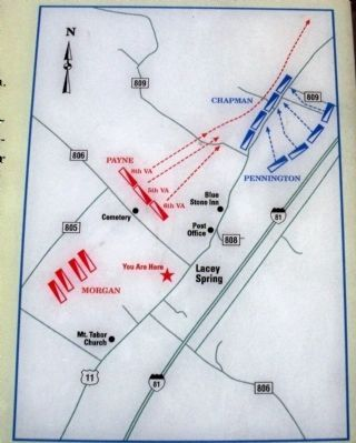 Map of Lacey Spring Action. Photo, Click for full size