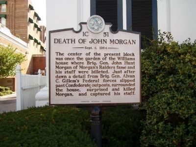 Death of John Morgan Marker image. Click for full size.