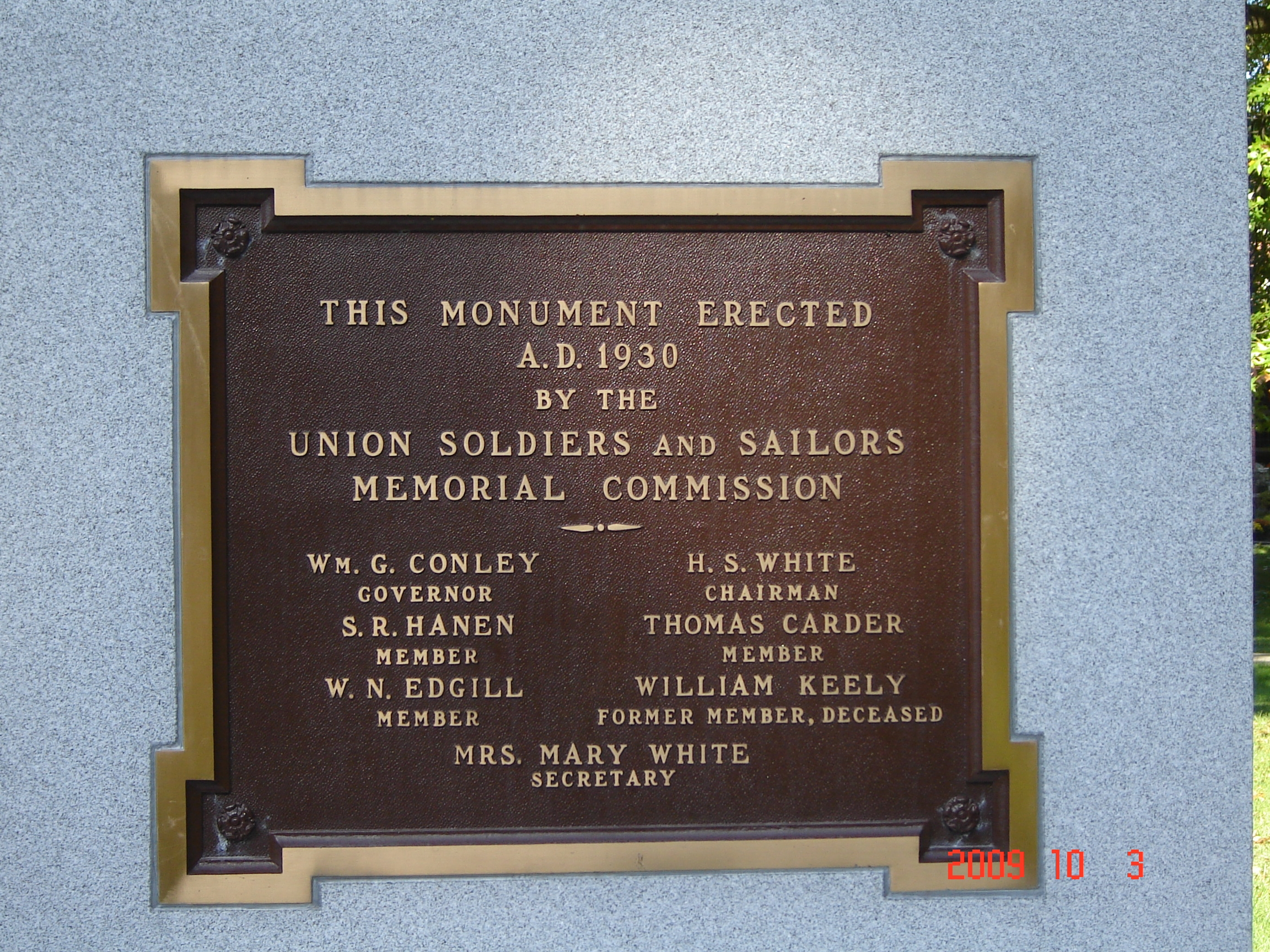 Union Civil War Monument Marker