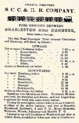 South Carolina Canal & Rail Road Company 1841 SCC&RR Schedule image. Click for full size.