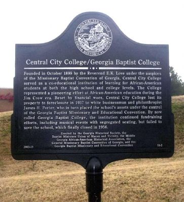 Central City College/Georgia Baptist College Marker image. Click for full size.