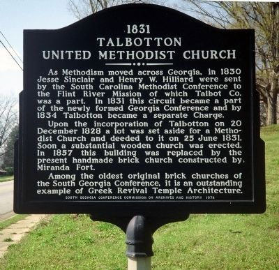 1831 Talbotton United Methodist Church Marker image. Click for full size.