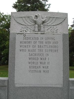 Brattleboro Veterans Monument image. Click for full size.