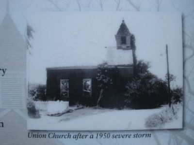 Union Church after a 1950 severe storm image. Click for full size.