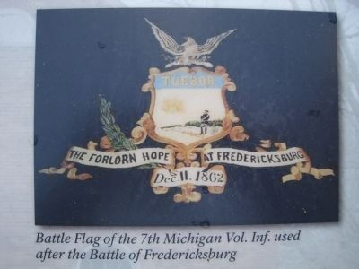 Battle Flag of the 7th Michigan Vol. Inf. used after the Battle of Fredericksburg image. Click for full size.