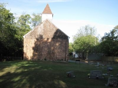 The Forlorn Hope Marker and remains of Union Church, rear view image. Click for full size.