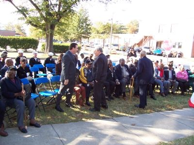 Veteran messmen, their families and supporters at marker dedication. image. Click for full size.