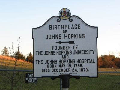 Birthplace of Johns Hopkins Marker image. Click for full size.