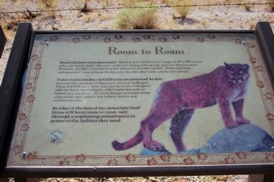 """Room to Roam"" Mountain Lion Marker image. Click for full size."