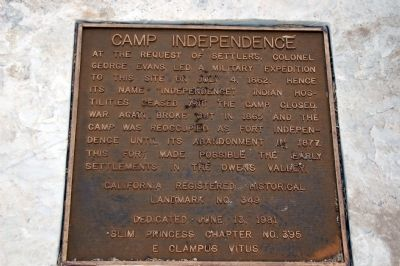 Camp Independence Marker Photo, Click for full size