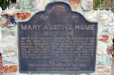 Mary Austin's Home Marker image. Click for full size.