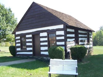 Replica of Log Meeting House image. Click for full size.