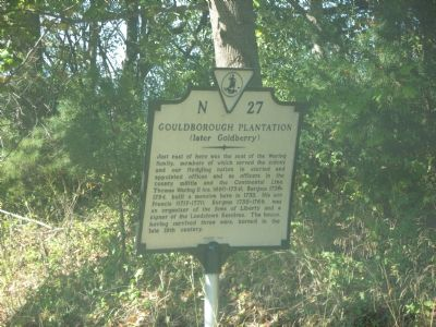 Gouldborough Plantation (later Goldberry) Marker image. Click for full size.
