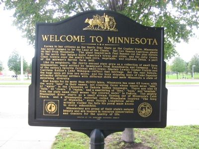 Welcome to Minnesota Back of Marker Photo, Click for full size